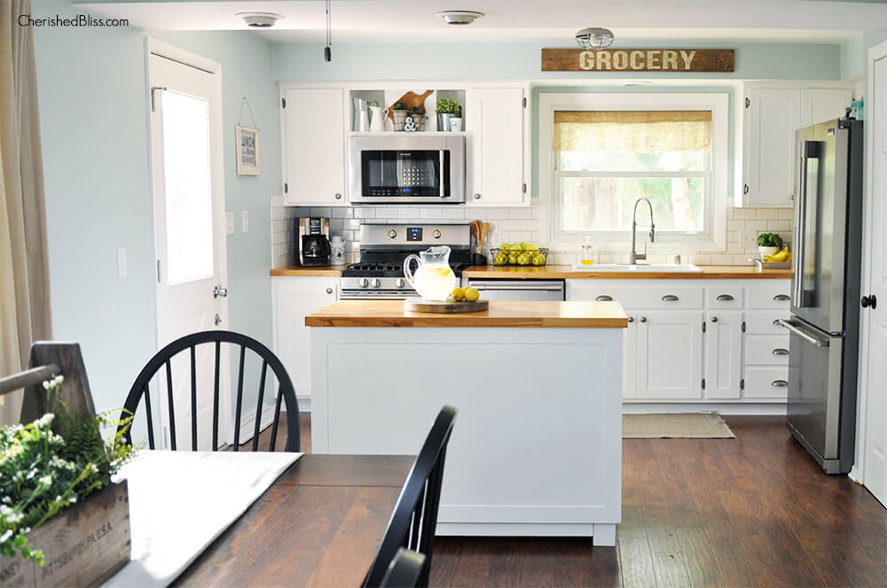 simple white kitchen island
