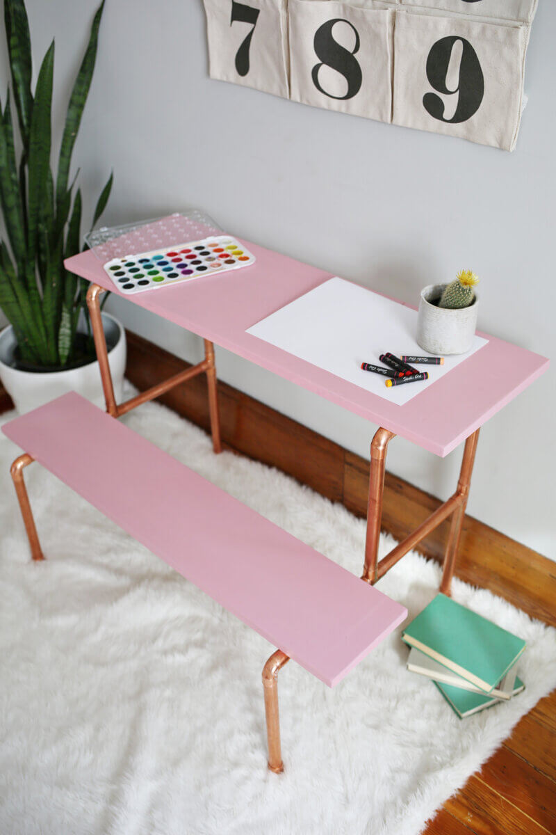 tiny DIY desk with copper pipes