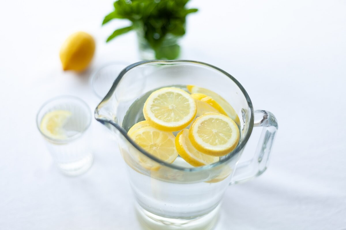 lemon water in pitcher