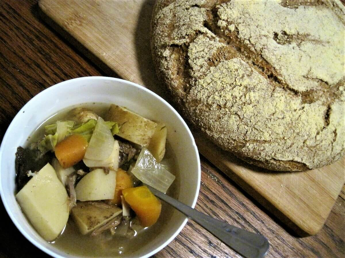 chicken stew and bread