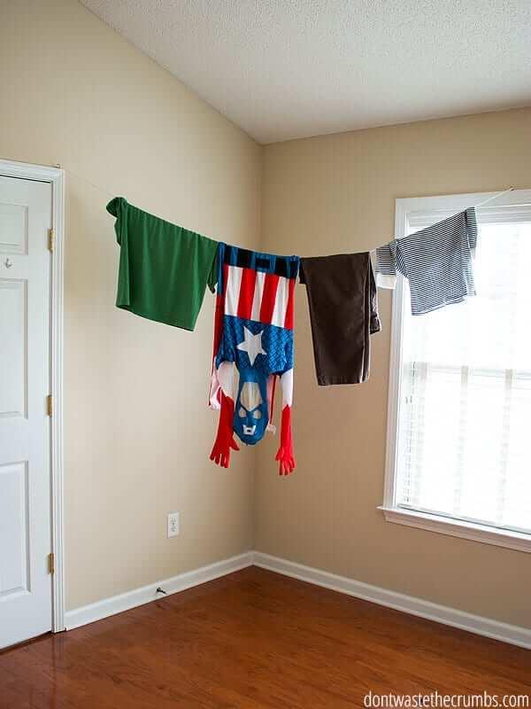 simple indoor clothesline