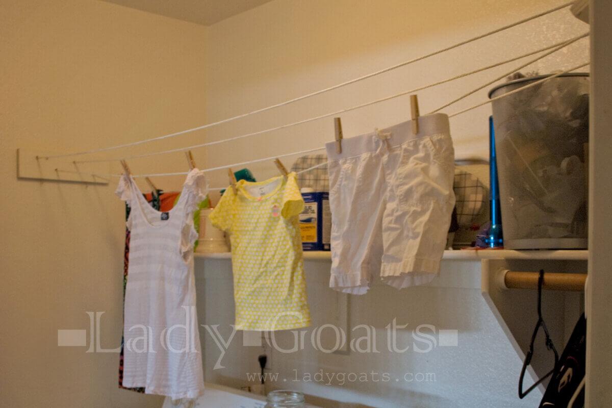 indoor basement clothesline