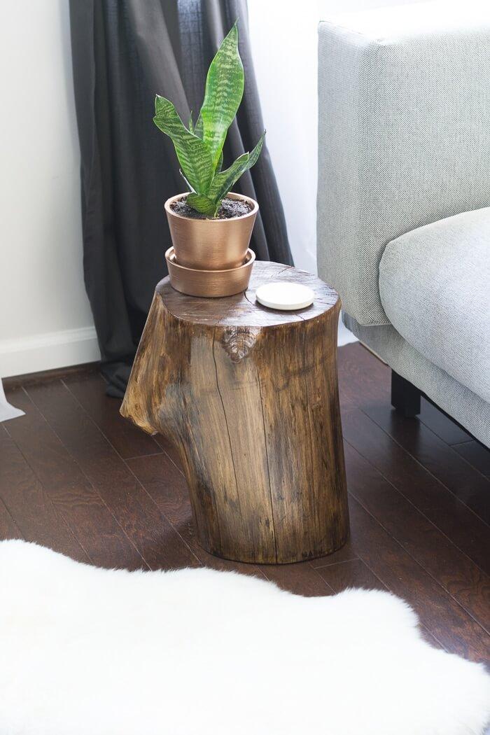 tree stump nightstand