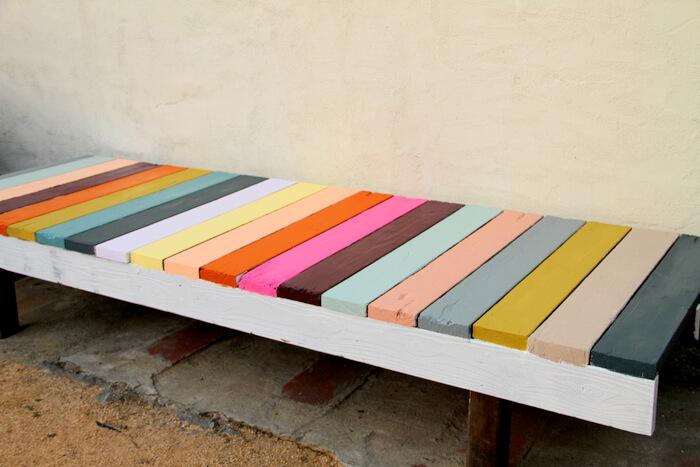 rainbow garden bench