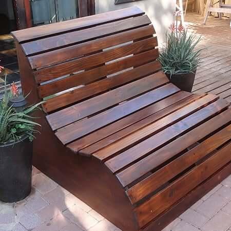 curved garden love seat