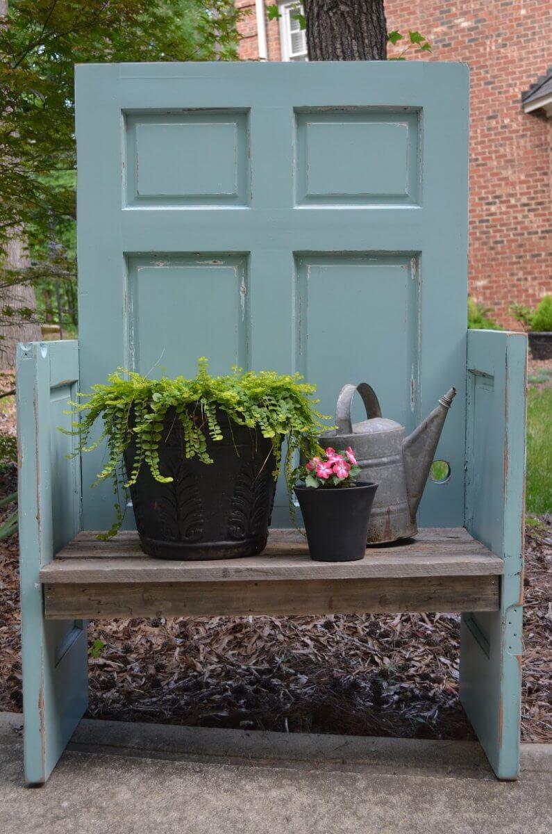 upcycled door garden bench plans