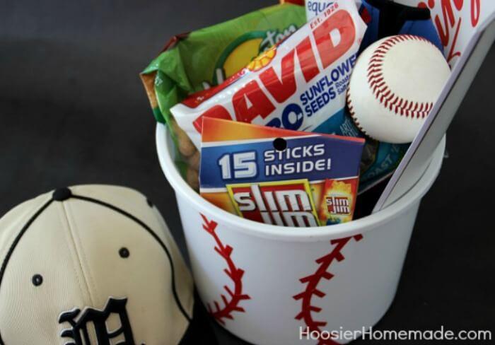 baseball gift bucket