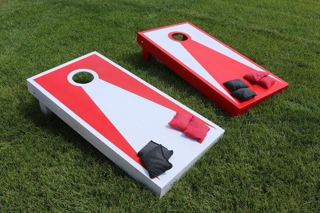 red-and-white-cornhole-board