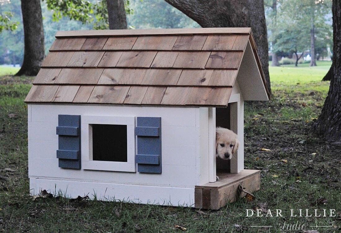 Wooden DIY Dog House Plans