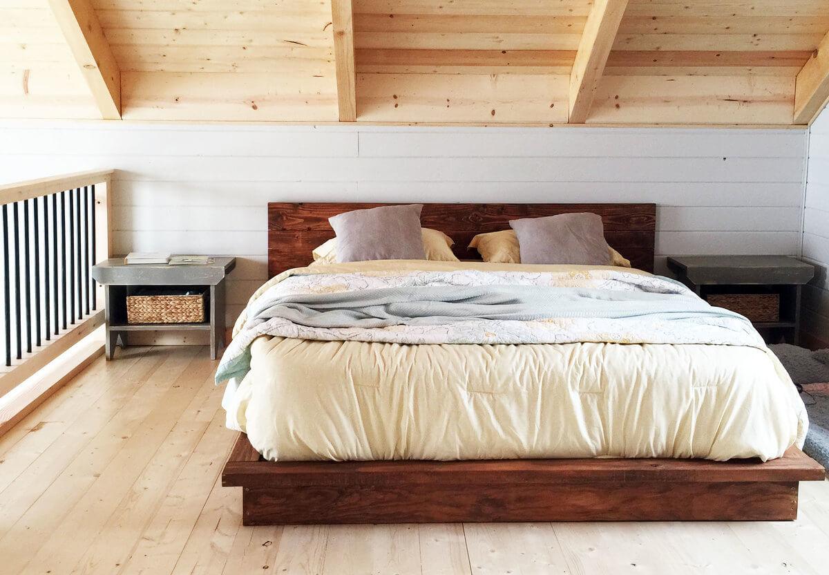 Rustic modern platform bed