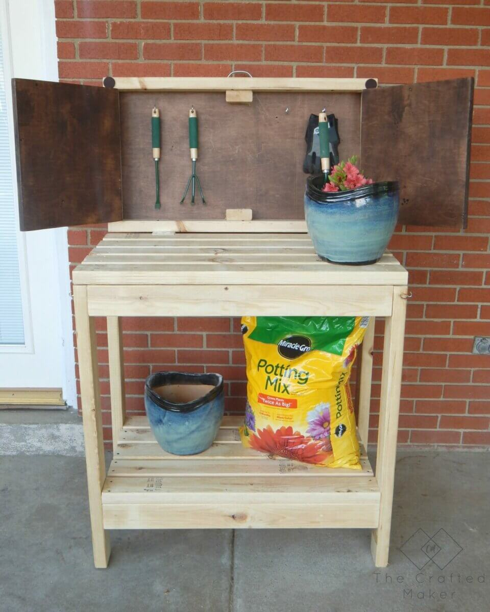 DIY Potting Bench With Small Shutter Doors