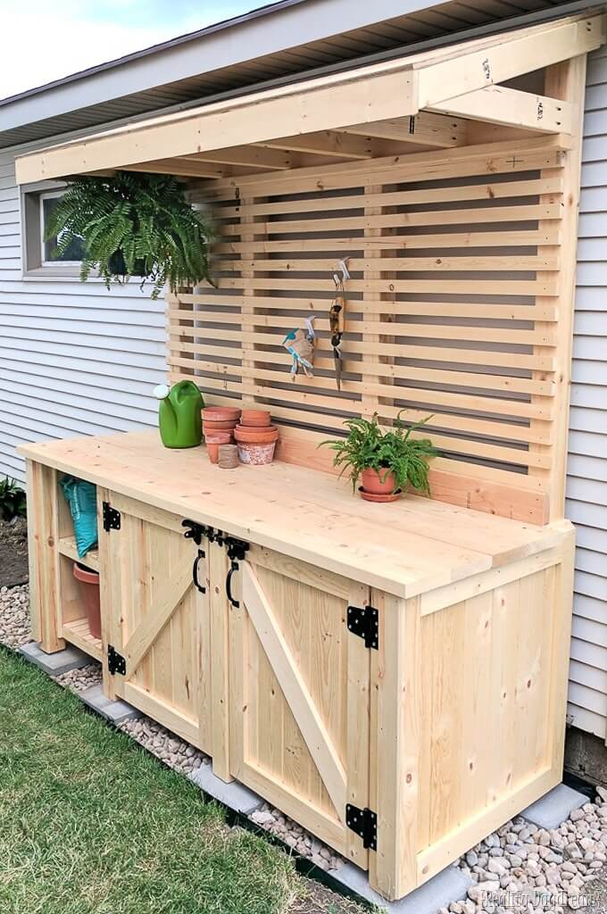 DIY Potting Bench With a Hidden Garbage Can