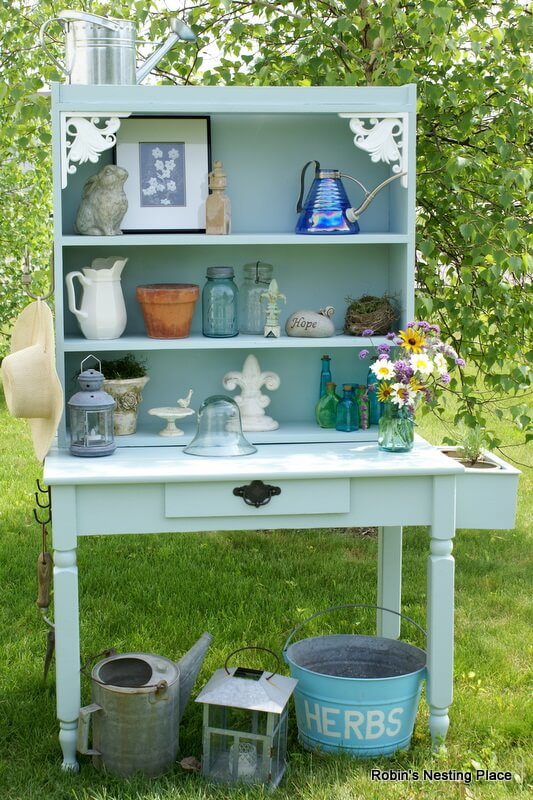 DIY Decorative Potting Bench From Two Repurposed Items