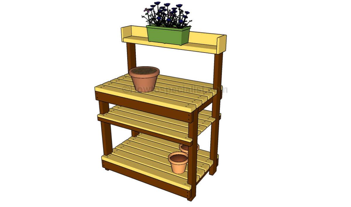 yellow DIY potting bench with pot