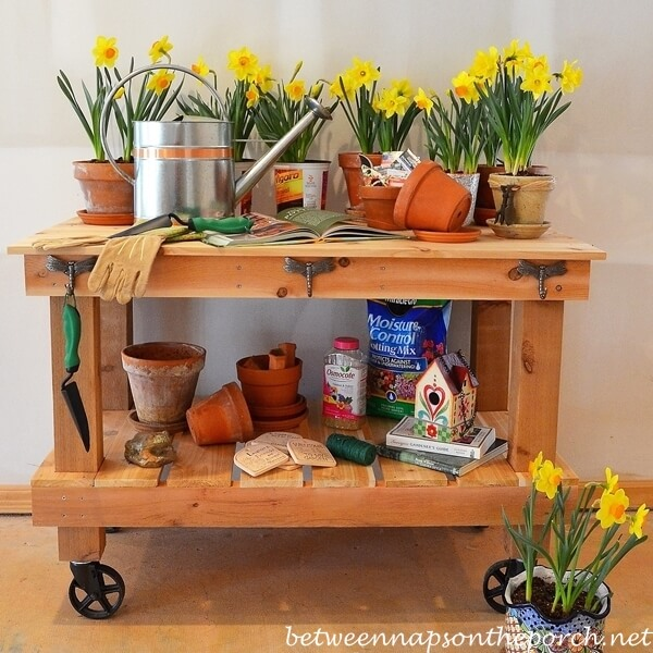 DIY Potting Bench With Wheels
