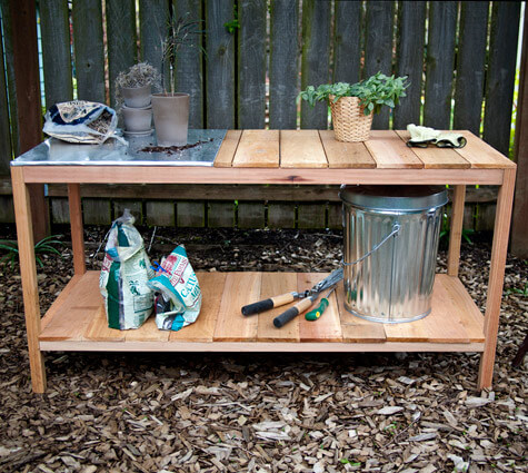 Easy DIY Potting Bench With Stainless Steel Top