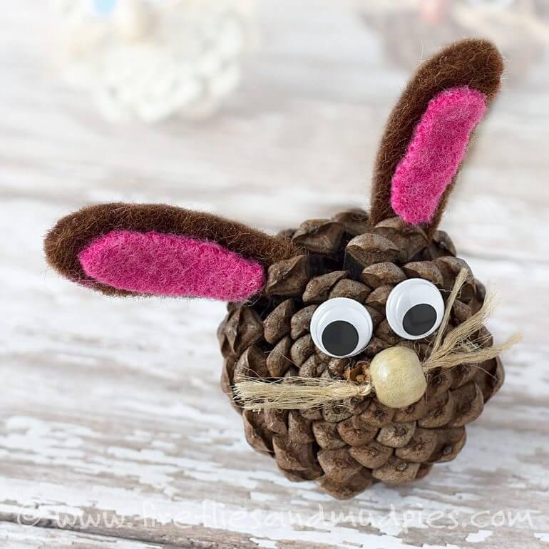 pinecone bunny craft