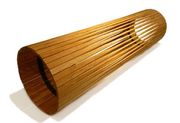 Wood log bench