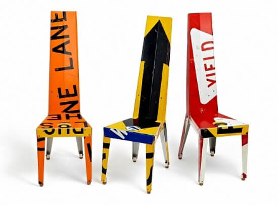 road sign chair