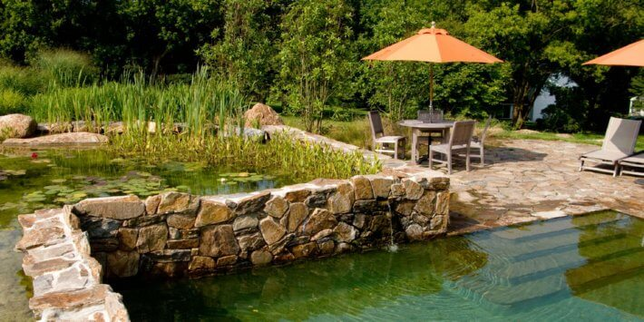 Natural pools or swimming ponds insteading for Tiered pond waterfall