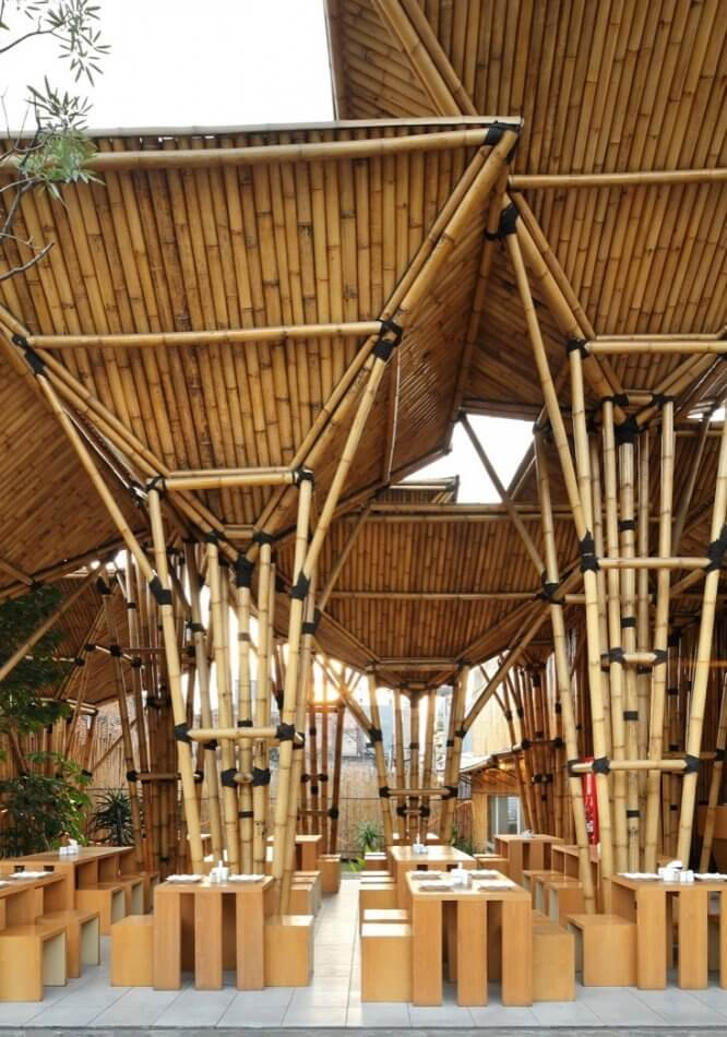 Bamboo buildings insteading