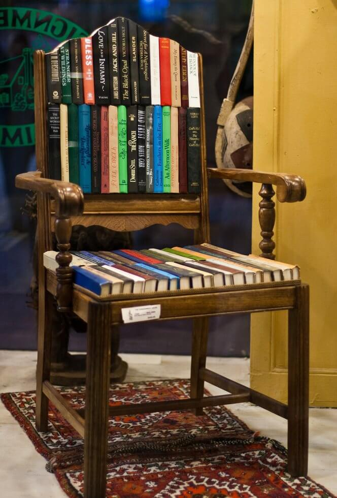 chair made from books